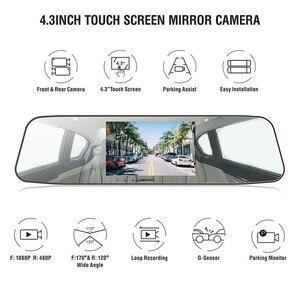 Image 2 - AUTMOR Car Dvr Mirror 4.3Inch Touch Screen FHD 1080P Car Rear View Mirror Camera Dual Lens Dash Cam Parking Monitor Black Box