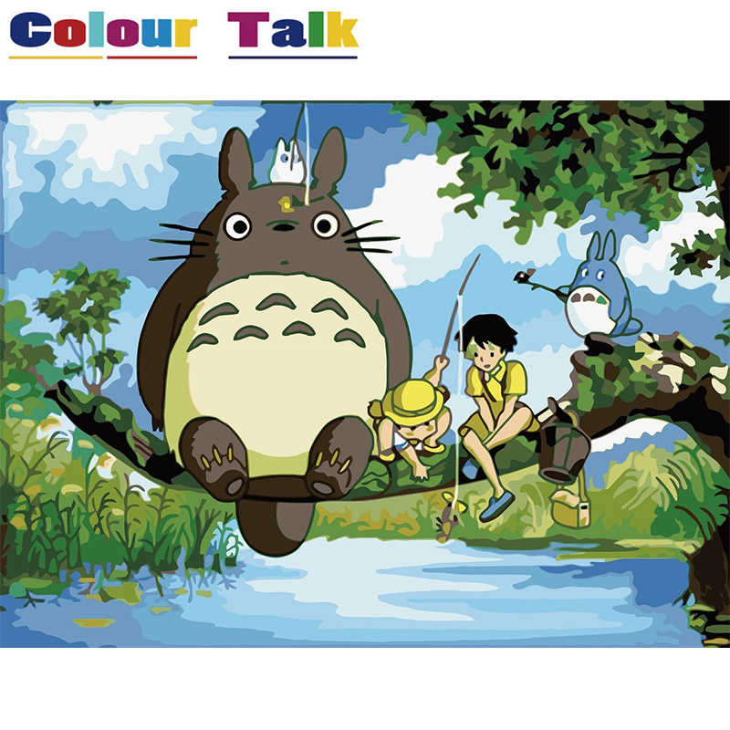Oil Painting Coloring by Numbers DIY Art Pictures on Canvas Paintings for Living Room Wall Drawing Home Decor Totoro P-0310