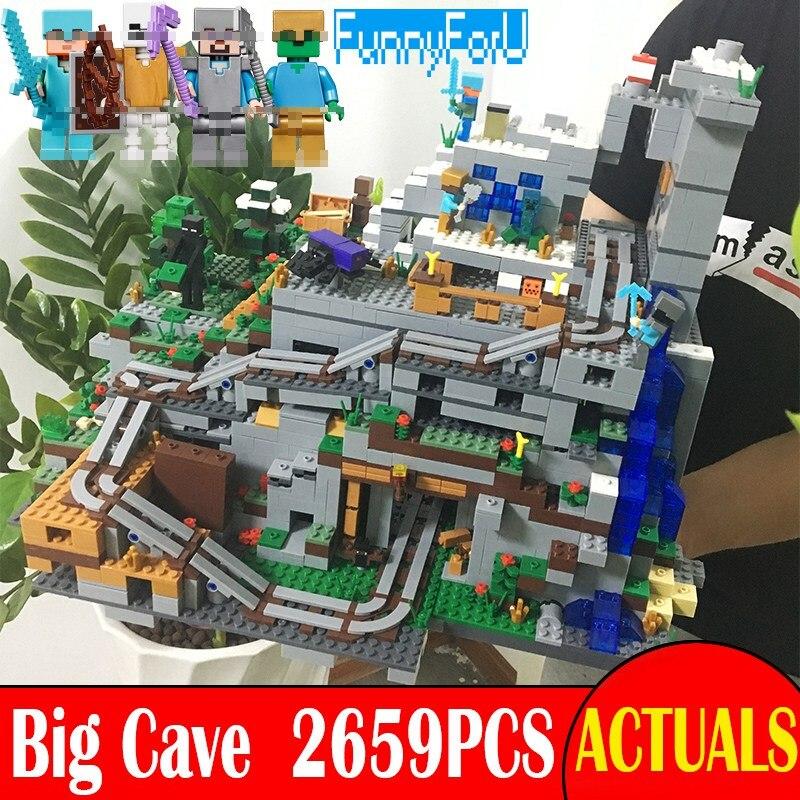 La Grotte De la Montagne 2659 pcs Mon monde Minecraft Mini Figurines Briques de Construction Modèle BRICOLAGE Jouets Similaires Avec legoingly 21137