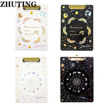 Starry Sky A4 Clipboard Acrylic File Folder Writing Pad Document Holder School Office Supplies Stationery Writing Clipboard kicute 1pcs a4 file paper metal clipboard clips clipboard writing pad office writing board document folder pattern randomly