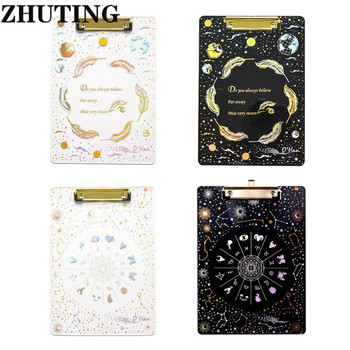 Starry Sky A4 Clipboard Acrylic File Folder Writing Pad Document Holder School Office Supplies Stationery Writing Clipboard ten win new clipboard office plastic blue black solid a4 size document clipboard school supplies clip board with pen holder