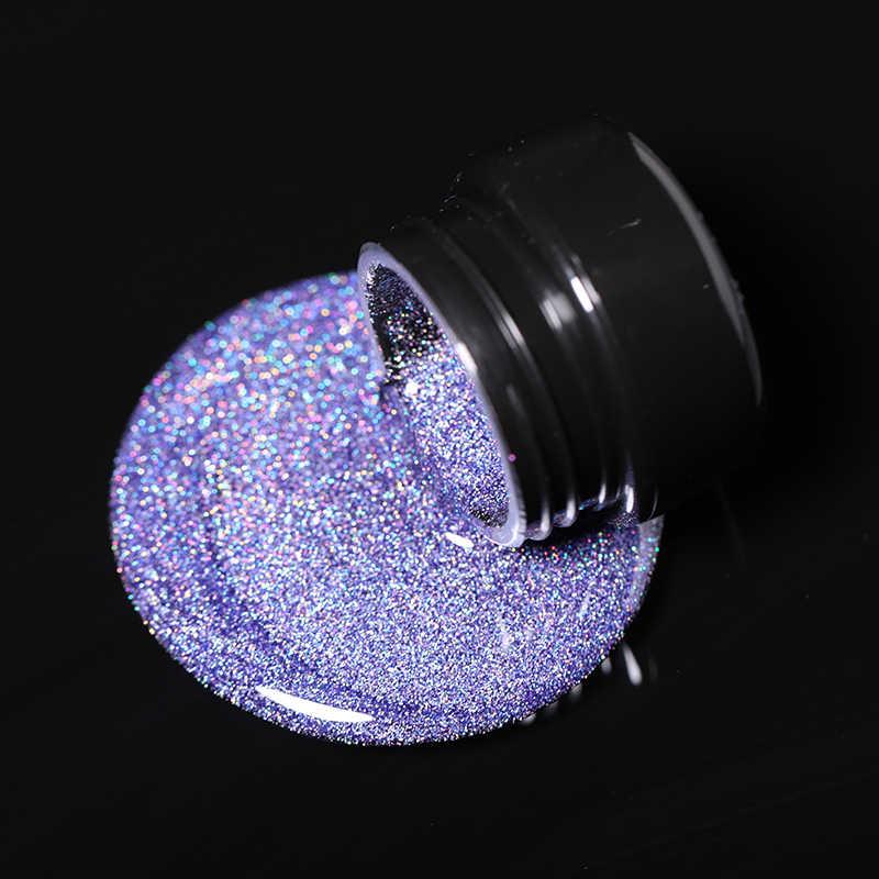 ניקול יומן הולוגרפי גליטר ג 'ל לייזר ציפורניים ג' ל פולני משרים כבוי UV LED ברק שמר לכה מסמר קישוט 5ml