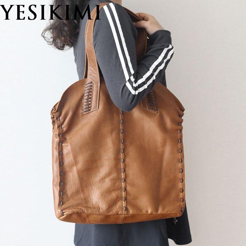 Vintage Simple Nature sac à main en cuir de vache pour les femmes sacs composites en cuir véritable sac à bandoulière grande taille à la main tricot