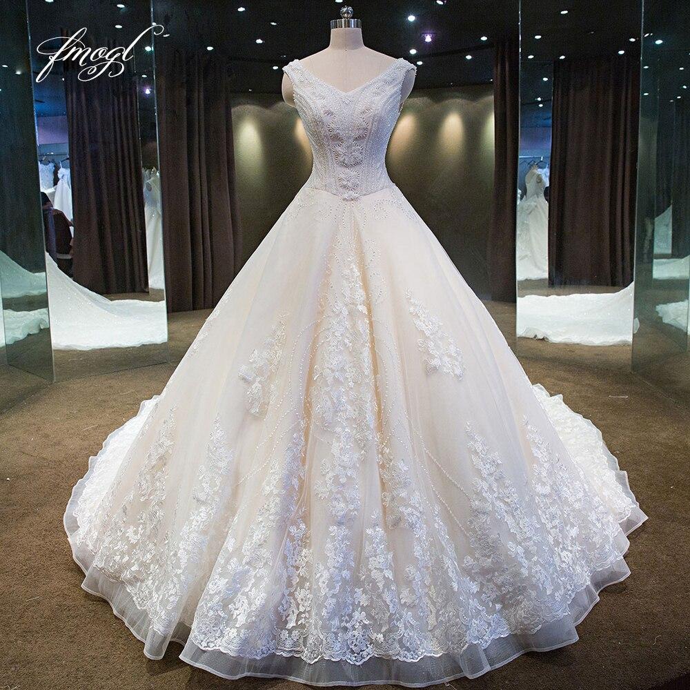 Fmogl Vestido De Noiva col en V une ligne robes De mariée en dentelle 2019 chapelle Train Appliques perles perles arc Tulle robes De mariée