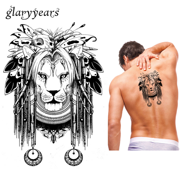 1 Piece Temporaire Body Art Etanche Tatouage Lion Papillon Os Motif