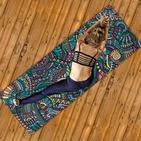 2019 Ultra light Folding Yoga Mats Printed Mandala 1mm Suede Natural Rubber Anti Slip Pilates Blankets Multiple Uses