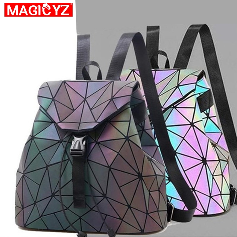 MAGICYZ Women Laser Luminous Backpack Mini Geometric Shoulder Bag Folding Student School Bags For Teenage Girl Hologram BackpackMAGICYZ Women Laser Luminous Backpack Mini Geometric Shoulder Bag Folding Student School Bags For Teenage Girl Hologram Backpack