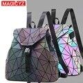 MAGICYZ Women Laser Luminous Backpack Mini Geometric Shoulder Bag Folding Student School Bags For Teenage Girl Hologram Backpack