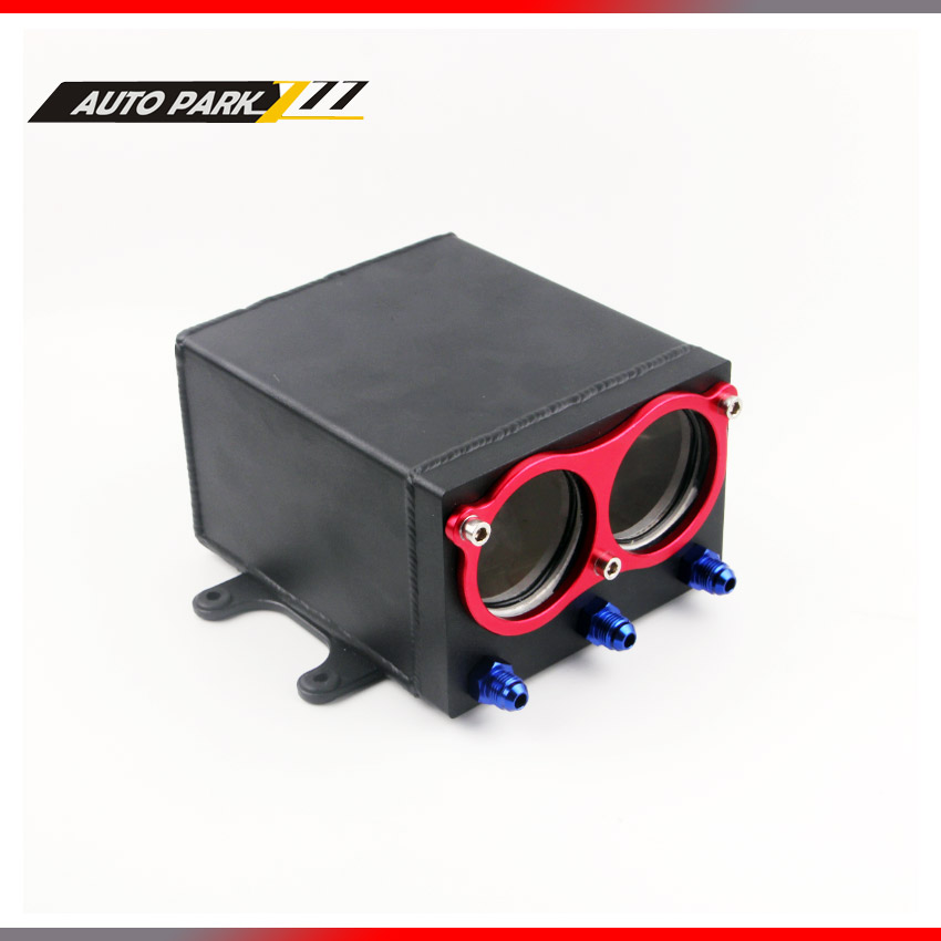 new product 60mm dual port external 044 fuel pump tank racing black Billet aluminium with fitting oil catch can fuel surge tank racing new oil cap engine cover fuel for mitsubishi evo