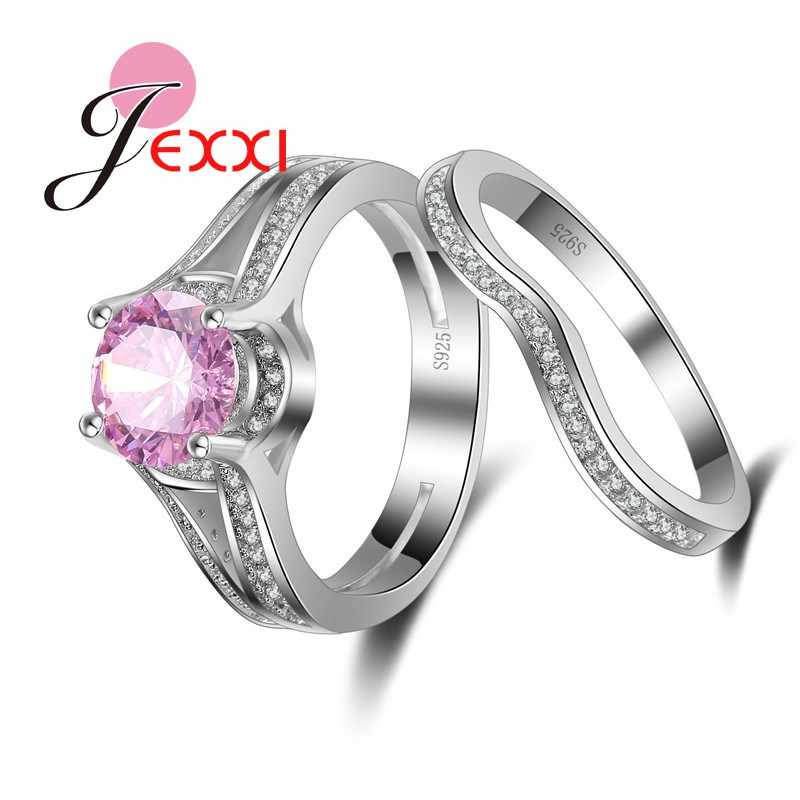 Classic Pink African AAA Crystal Stone Rings Set 925 Sterling Silver  Finger Wedding Women Fashion Jewelry 2 PCS Wholesale