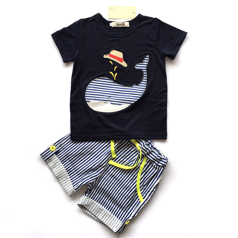 2017 New Children's Clothing Boys Summer Sets Whale T-shirt and Striped Shorts Sports Suit Brand Children Boy Baby Kids Outfits