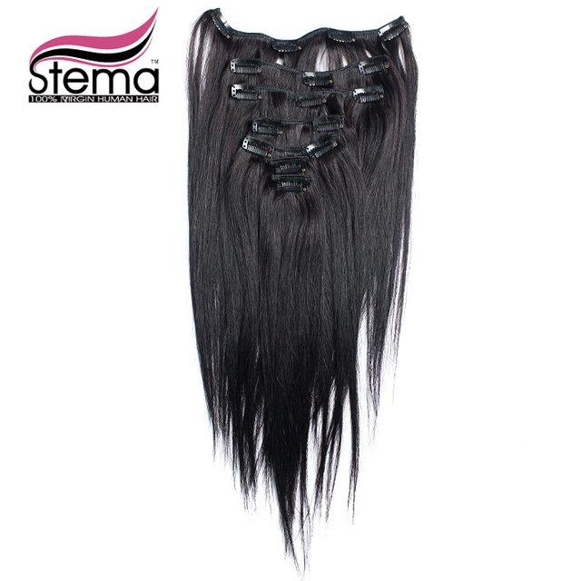 Envío gratis 100 g 7 unids/set fibra alta temperatura Clip en extensiones de cabello recta extensión del pelo Clip en extensiones de cabello Remy