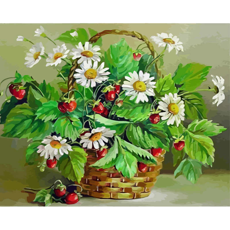 Strawberry and Daisy Hand Made Paint High Quality Canvas Beautiful Painting By Numbers Surprise Gift Great AccomplishmentStrawberry and Daisy Hand Made Paint High Quality Canvas Beautiful Painting By Numbers Surprise Gift Great Accomplishment