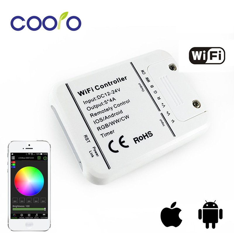 DC12-24V 4A*5CH RGB/WW/CW LED WIFI Controller IOS Android Smart Link Timer Music control rgb controller,free shipping bag kg dust for hp hewlett packard laserjet pro 300 color mfp m375 nw m 451 nw 451dw ce410 ce 411 a copier cartridge reset href