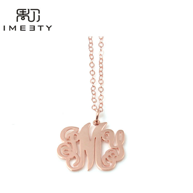 844f5645779d6 US $24.98 |IMEETY monogram necklaces design chunky celebrity initial  letters round pendant custom monogram nameplate necklace for mom gift-in  Pendant ...