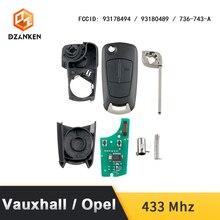 Chave do carro remoto capa para opel astra h zafira b/vauxhall com chip transponder & sem corte diy lâmina 433 mhz opel astra chave do carro terno