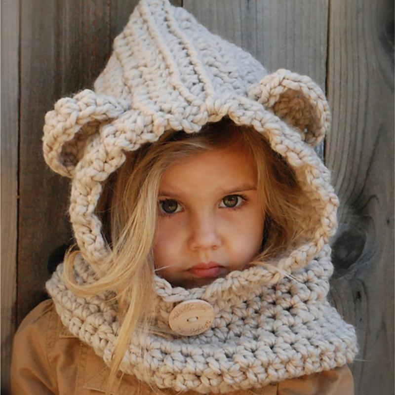 Neue 1-6 Jahre Baby Mädchen Hüte Handgemachte Kinder Winter Hüte Wrap Fuchs Schal Caps Netter Herbst Kinder Wolle Gestrickte Hüte