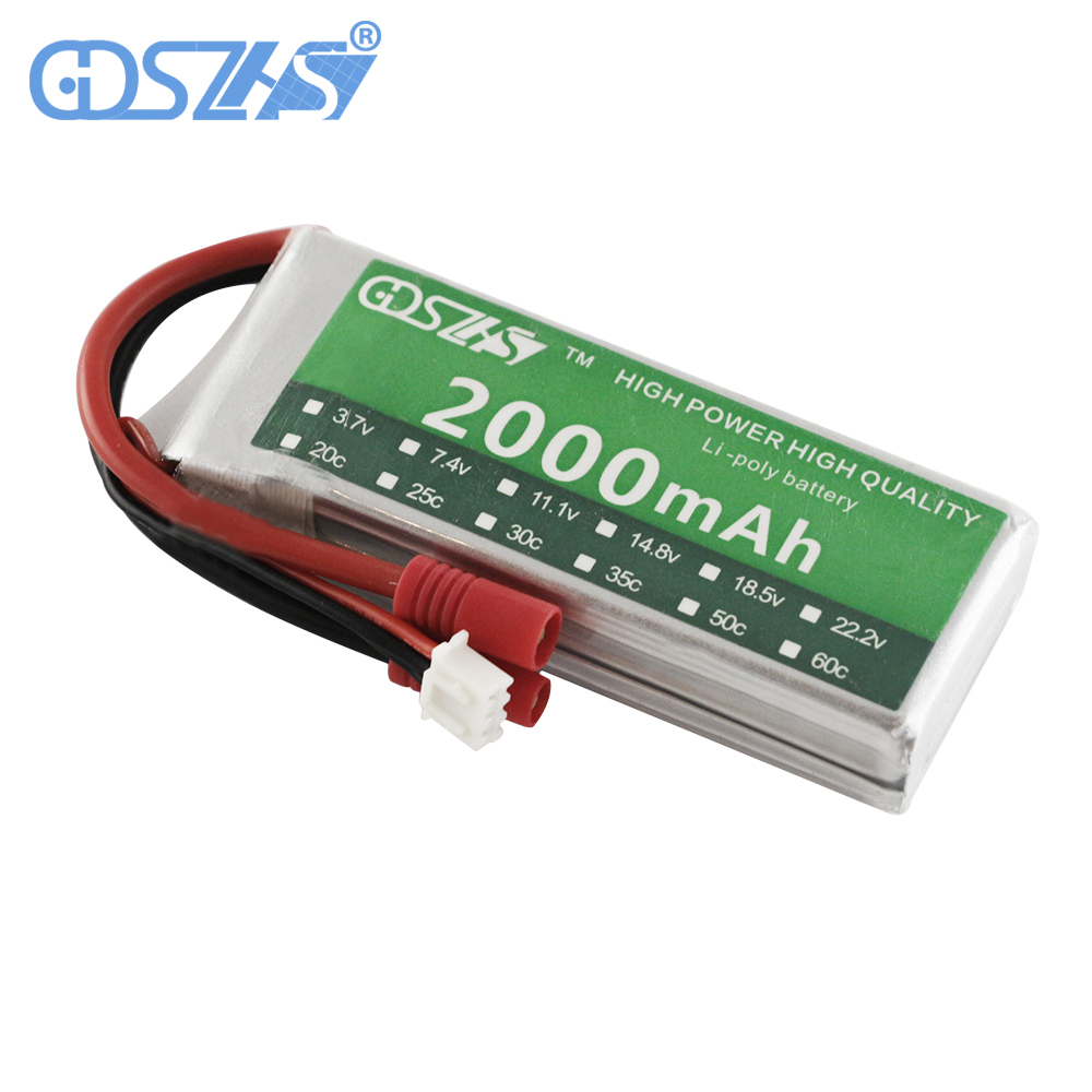 GDSZHS 7.4V 2000mAh 30C 2S Lipo Battery Banana Plug For Syma X8C Venture RC Helicopters Car Boats gdszhs b3 20w 2s 3s lipo battery compact for rc model 11 1v 7 4v 1 6a lipo battery 2s 3s charger