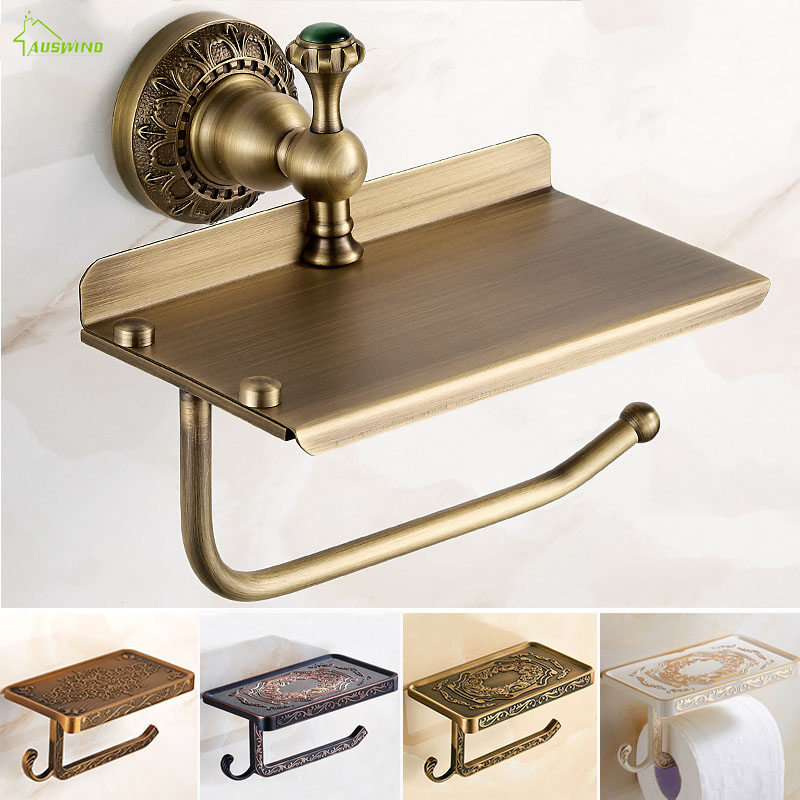 Bathroom Shelves Antique Carving Brass Paper Towel Rack Wall Mounted Mobile Phone Holder Toilet Box With Ashtray YD-602 цена