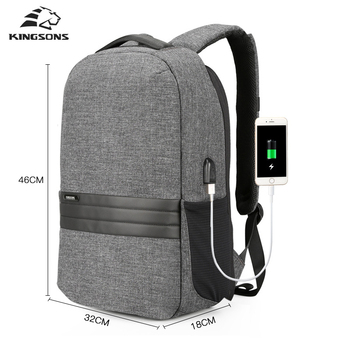 Kingsons Men Backpack School Bag Men's Casual Daypack For Business Laptop Backpack USB Recharging Travel Bag Backpacks Sac A Dos