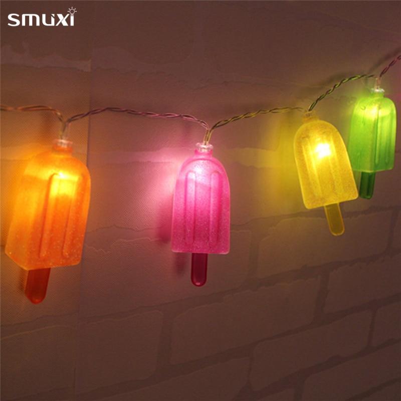 Mrosaa Ice Cream Shape 1.8M 10 LED Night Light Battery Powered Popsicles Party Festival Wedding Decor Atmosphere Holiday Lamp