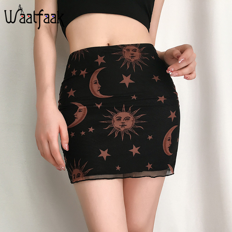 Waatfaak Sun Moon Graphic Retro A-line Skirt Women High Waist Mesh Short Skirts Elegant Bodycon Black Sexy Harajuku Jupe Summer