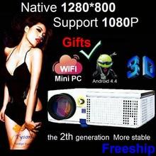 Más nueva Actualización LED proyector HD de la Ayuda 1920×1080 proyector del teatro Casero con Opcional WIFI Mini PC Android TV Proyector