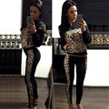 winter top brand velvet sportswear tracksuit sexy women leopard patchwork sweatshirt jacket+casual jogger pant 2pcs clothing set
