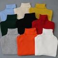 Сплошной цвет осенью и зимой моды случайные хлопка вязать высокий воротник свитера водолазки дна рубашки многоцветный детей