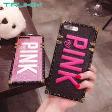 Luxury Embroidery 3D Pink Letter Case for iphone 7 8 7Plus Glitter Metal Square Phone Cases for iPhone X XR XS MAX 6 6s Plus(China)