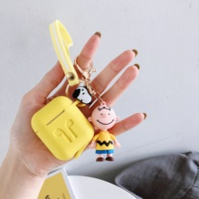 Cute Cartoon Charlie Dog Keychain silicone Wireless Earphone Charging case for AirPods 1 2 Bluetooth  For Air pods Accessories