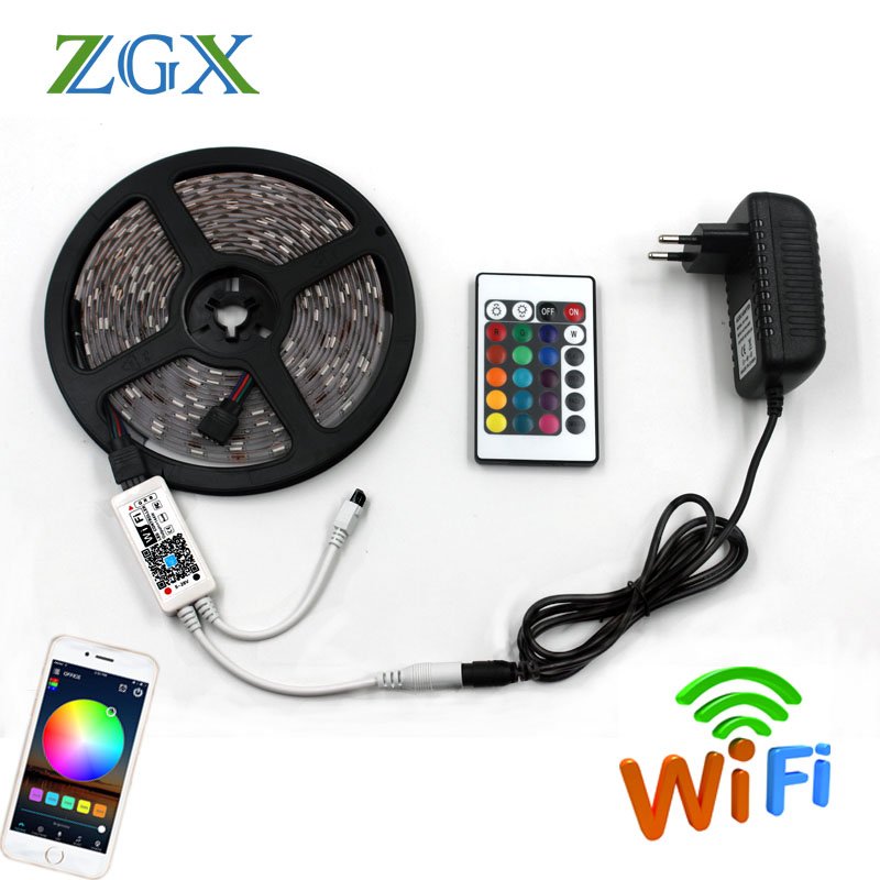 5050 RGB LED Strip light WIFI Controller neon lamp 5m Waterproof Decor Flexible Tape tira fita diode ribbon DC 12V adapter set
