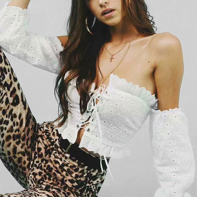 a39f930815 2019 summer Women Frill Trim Lace Up Bardot Crop Top Off the Shoulder Eyelet  Embroidered Crop