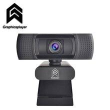 Webcam 1080P HDWeb Camera with Built-in HD Microphone 1920 x 1080p USB Plug Web Cam