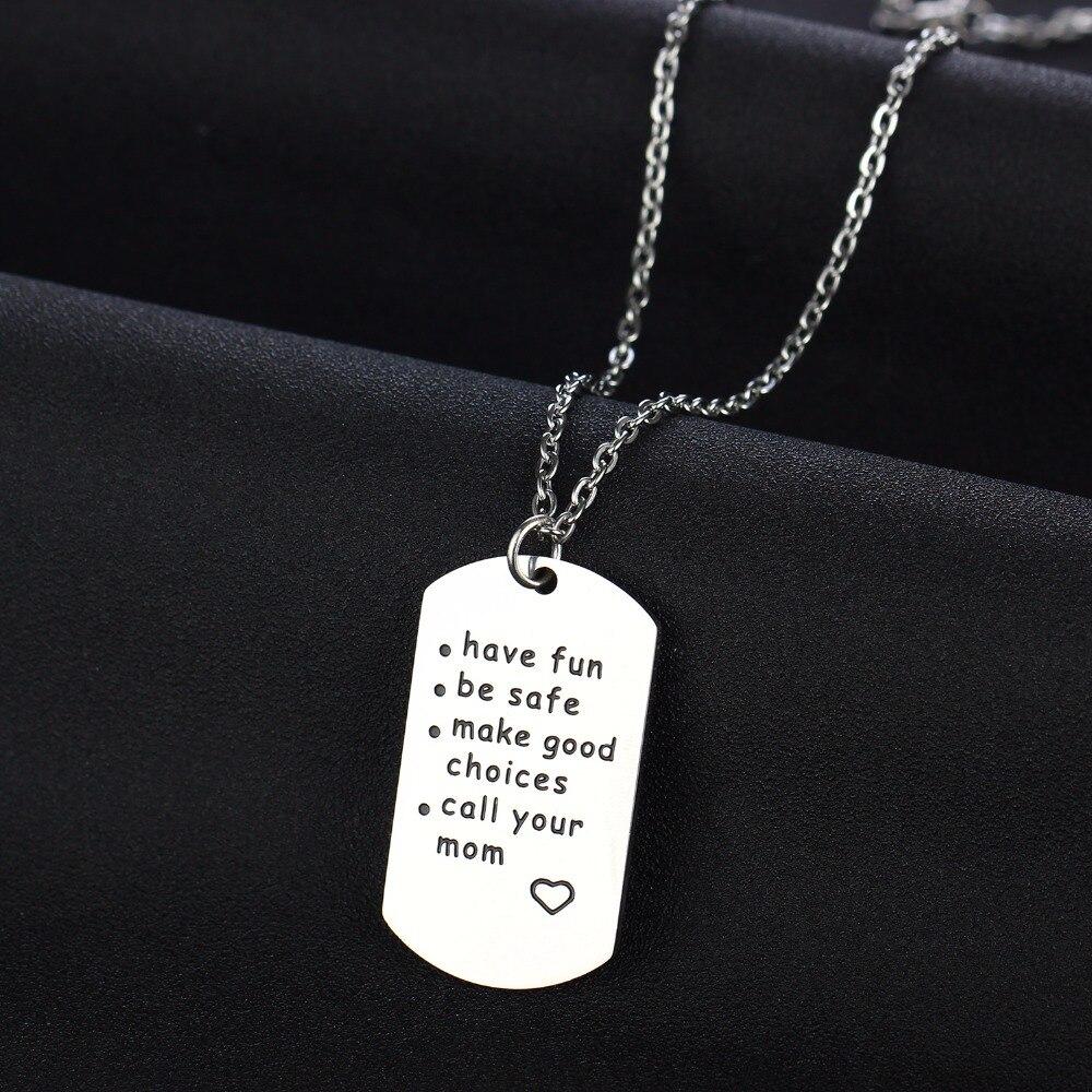 Получайте удовольствие быть безопасный вызов вашей мамы Нержавеющаясталь dog tag кулон цепи Цепочки и ожерелья дочки сыночки детская Цепочк...