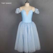 נוצץ אור כחול ארוך רומנטי סגנון בלט ריקוד תלבושות רך טול טוטו בלרינה שמלת עבור ילד ומבוגר 18129