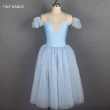 スパークリングライトブルーロングロマンチックなスタイルバレエダンス衣装ソフトチュールチュドレス子供と大人のため 18129