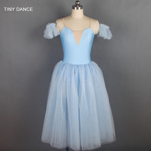 Sparkling Light Blue Long Romantic Style Ballet Dance Costume Soft Tulle Tutu Ballerina Dress for Child and Adult 18129