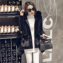 Ptslan 2016 Women's Real Lamb Fur Full Pelt Jacket Long Coat