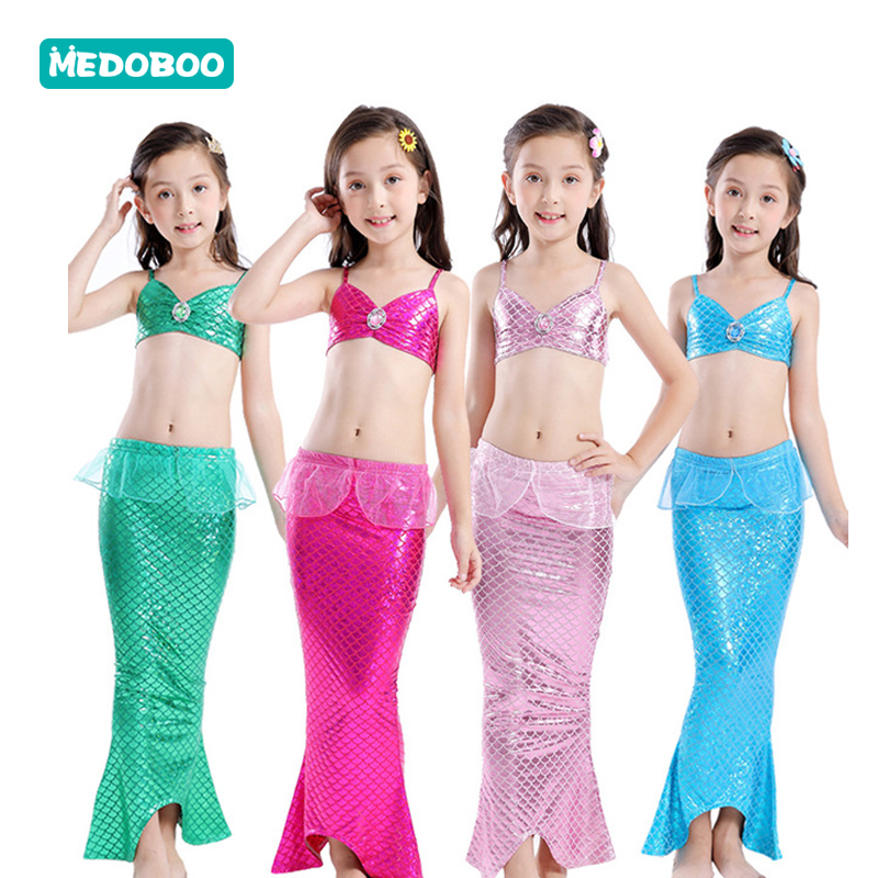 Medoboo 3PCS/Set Bikini Children Swimwear Girls Mermaid Swimsuit Kids Bathing Suit Dress Beachwear Swimmable 20