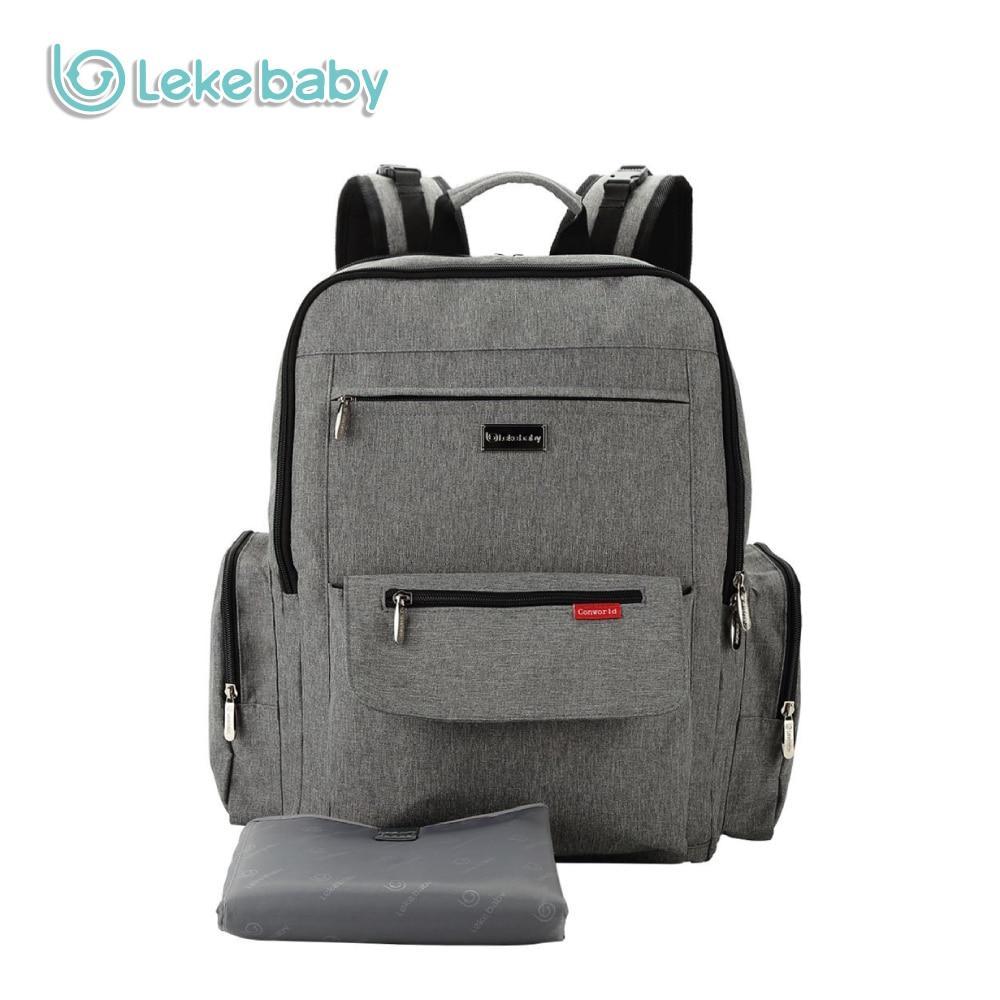 Lekebaby Solid Diaper Bag Backpack Dad Bag High Capacity Baby Nappy Bag Organizer for Baby Stroller