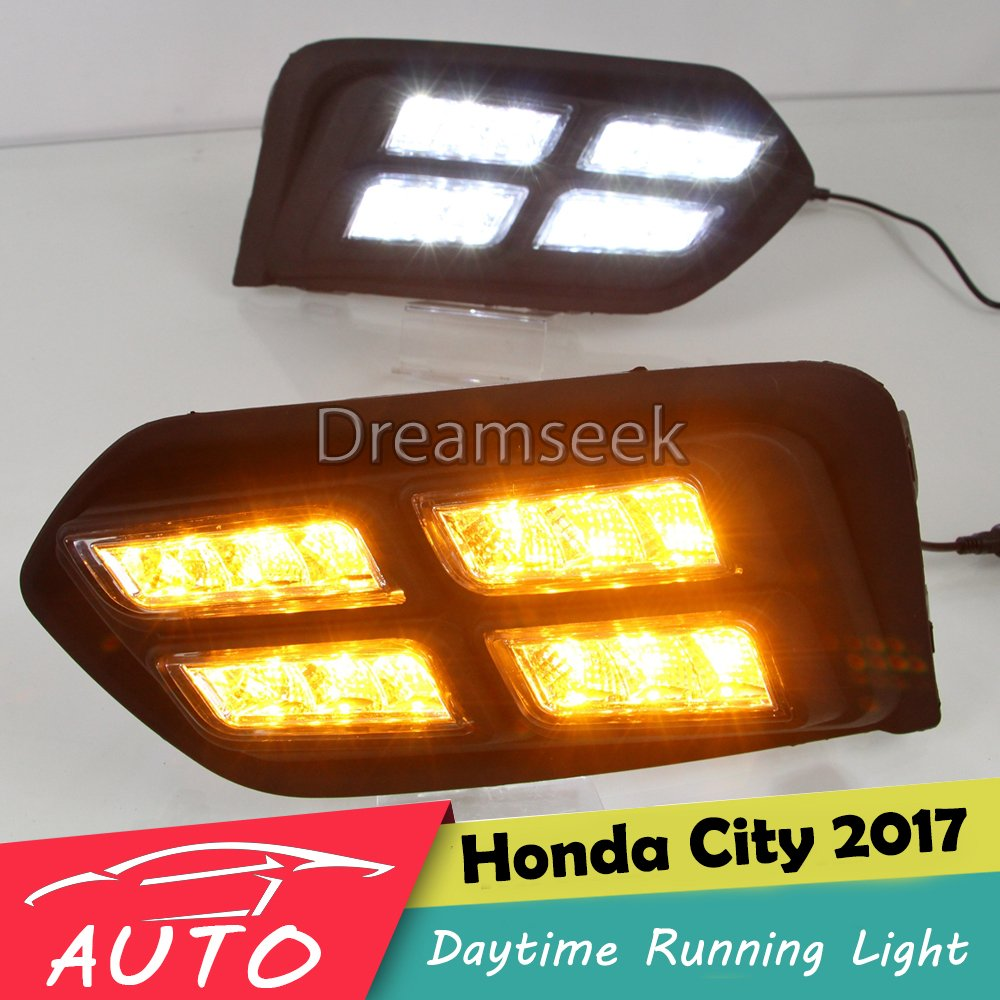 <font><b>DRL</b></font> For <font><b>Honda</b></font> <font><b>City</b></font> 2017 2018 <font><b>LED</b></font> Car Daytime Running Light Relay Waterproof Driving Fog Lamp Daylight with Turn Signal image