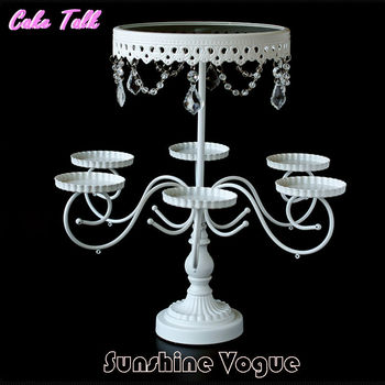 White wrought iron flower cake stand glass cupcake branches stand wedding party decoration supplier bakeware cake tools