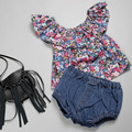 Korea's New 2016 Baby Girls Floral Ruffled Strapless Tops Doll Collar Shirt 80-90-100-110-120