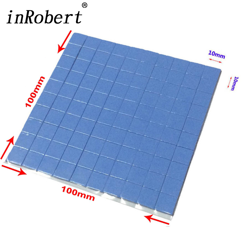 100 Pcs Blue 10mm*10mm*1mm GPU CPU Heatsink Cooling Conductive Silicone Pad Thermal Pad