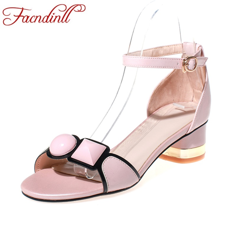 ФОТО new fashion genuine leather 2017 spring summer shoes woman sandals med heels peep toe sexy women dress party wedding shoes women