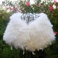 New Style Turkey Ostrich Feathers Womens Fur Capes White/Red/Black/Pink Bridal Faux Fur Wedding Wrap Bolero Jacket Etole Mariage