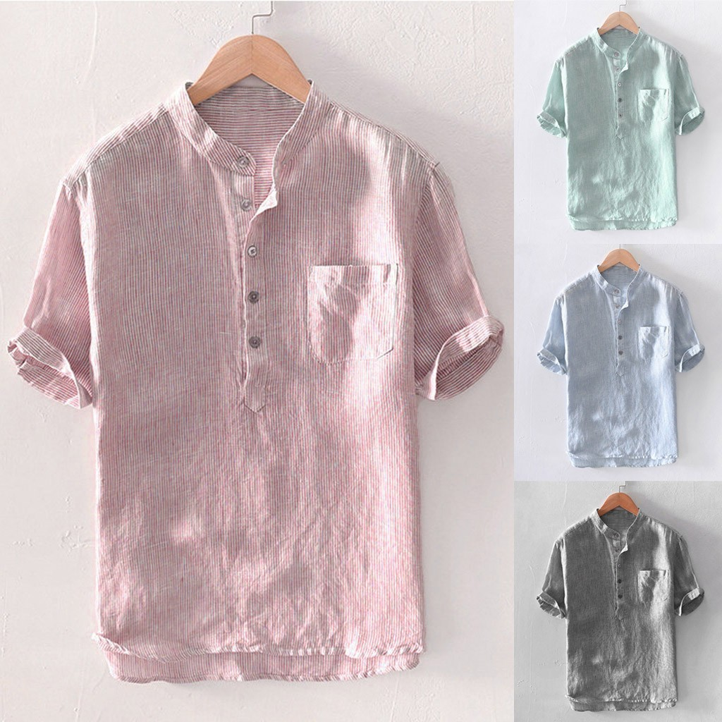 Men's Baggy Stripe Cotton Linen Short Sleeve Button Pocket Shirts Tops Blouse M-3XL Camisas Hombre Manga Larga #30(China)
