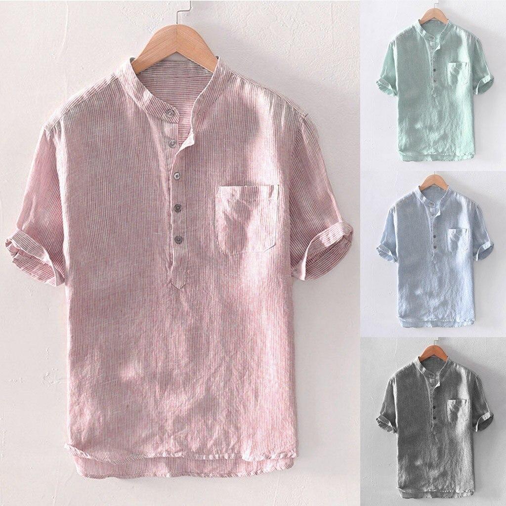Camisa havaiana masculina de manga curta de linho de algodão de manga curta
