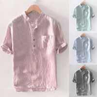 Camisas de bolsillo con botones de manga corta de lino de algodón con rayas holgadas para hombre blusa M-3XL camisas de manga larga hombre cómoda #30